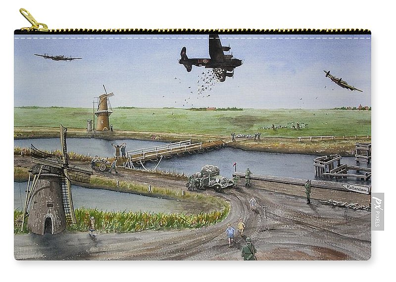 Lancaster Bomber Carry-all Pouch featuring the painting Operation Manna IIi by Gale Cochran-Smith