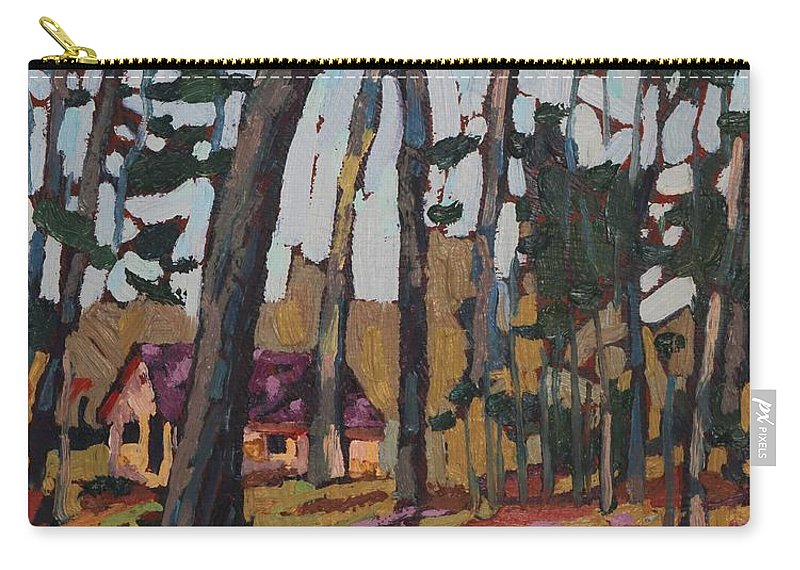 2045 Carry-all Pouch featuring the painting Opinicon Cabin Through The Oaks by Phil Chadwick