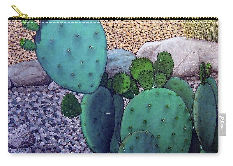 Landscape Carry-all Pouch featuring the painting Opuntia by Snake Jagger