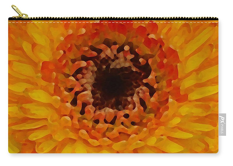 Daisy Carry-all Pouch featuring the painting Orange And Black Gerber Center by Amy Vangsgard