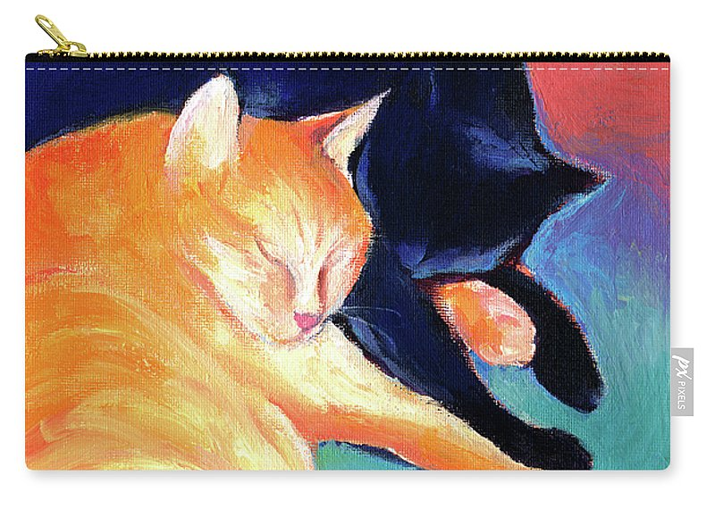 Orange Tabby Cat Painting Carry-all Pouch featuring the painting Orange And Black Tabby Cats Sleeping by Svetlana Novikova