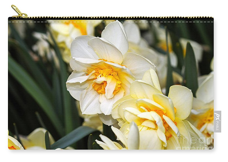 Flower Carry-all Pouch featuring the photograph Orange And Yellow Double Daffodil by Louise Heusinkveld