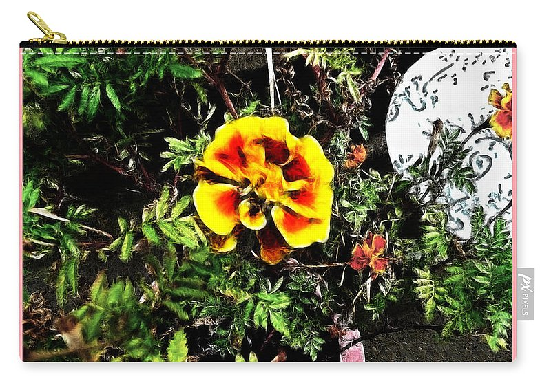 Planter Carry-all Pouch featuring the photograph Orange And Yellow Flower by Joan Minchak