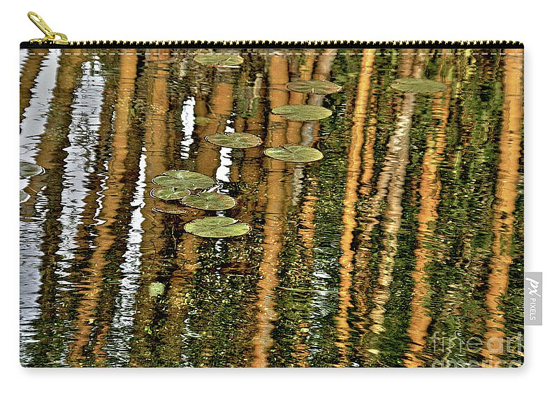 Abstract Carry-all Pouch featuring the photograph Orange Bamboo Abstract, Reflection On Water by Idan Badishi