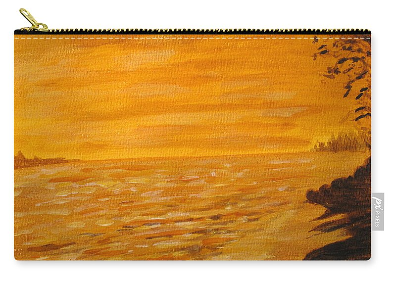 Ocean Carry-all Pouch featuring the painting Orange Beach by Ian MacDonald