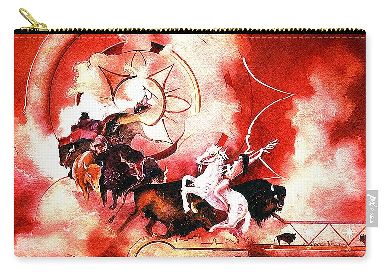 Indian Spirits Carry-all Pouch featuring the painting Orange Buffalo Spirit by Connie Williams