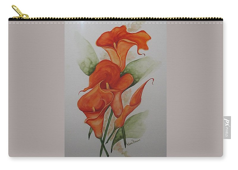 Floral Orange Lily Carry-all Pouch featuring the painting Orange Callas by Karin Dawn Kelshall- Best