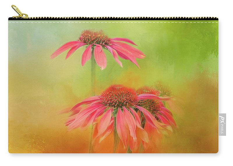 Photography Carry-all Pouch featuring the digital art Orange Daisy Splash by Terry Davis