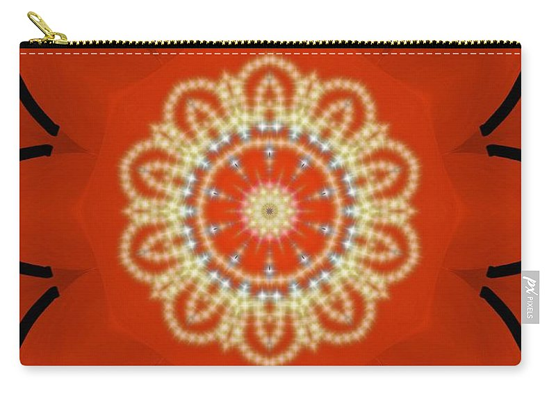 Orange Carry-all Pouch featuring the painting Orange Desert Flower Kaleidoscope by Roxy Riou