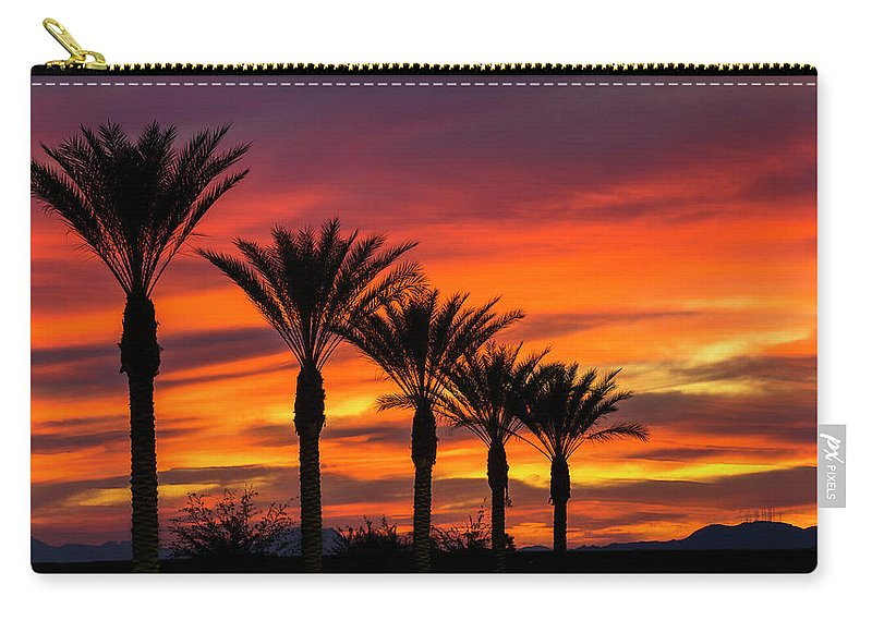 Sunset Carry-all Pouch featuring the photograph Orange Dream Palm Sunset by Saija Lehtonen