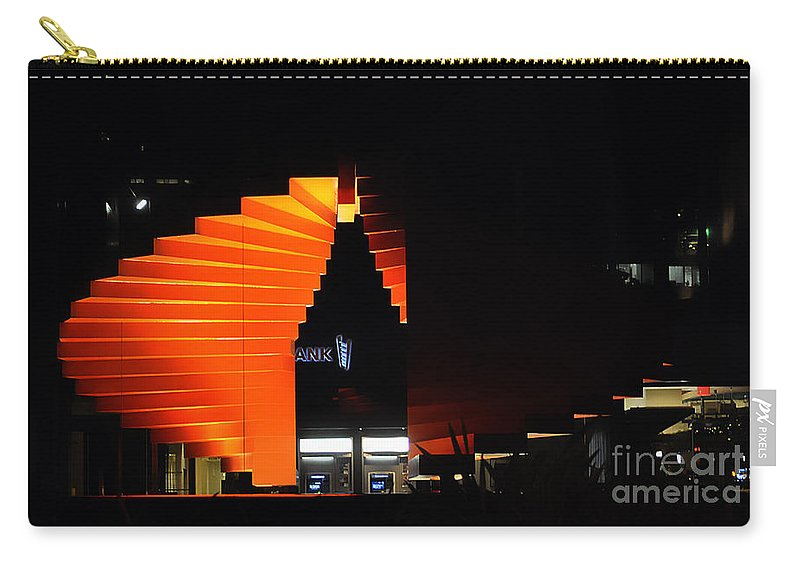 Clay Carry-all Pouch featuring the photograph Orange Fountain Downtown Los Angeles by Clayton Bruster