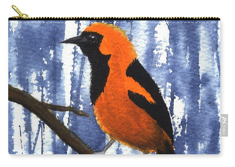 Bird Carry-all Pouch featuring the painting Orange-headed Oriole by Lynn Quinn