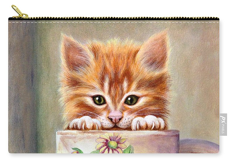 Kitten Carry-all Pouch featuring the painting Orange Kitten by Glenda Stevens