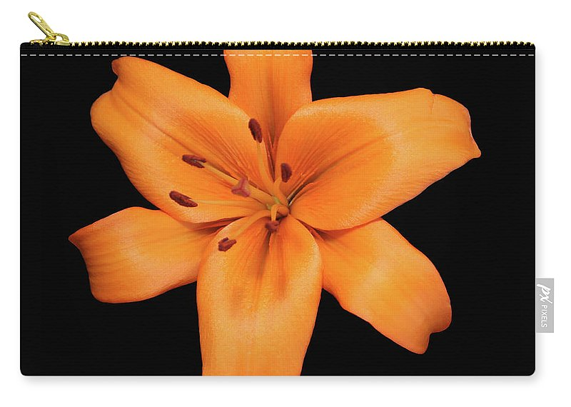 Orange Lily Carry-all Pouch featuring the photograph Orange Lily On Black by Krisjan Krafchak