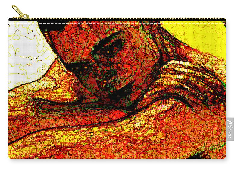 Man Carry-all Pouch featuring the digital art Orange Man by Stephen Lucas