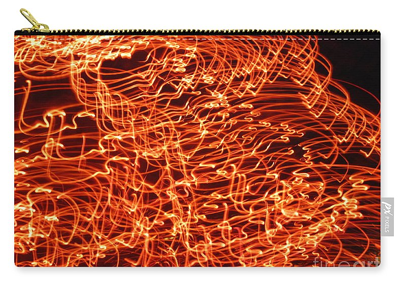 Flame Carry-all Pouch featuring the photograph Orange Neon Flames by Cassandra Geernaert