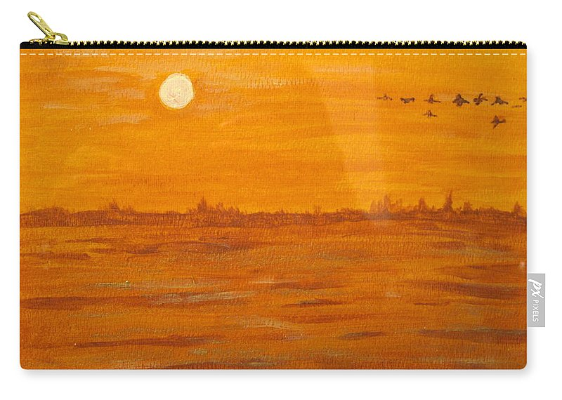 Orange Carry-all Pouch featuring the painting Orange Ocean by Ian MacDonald