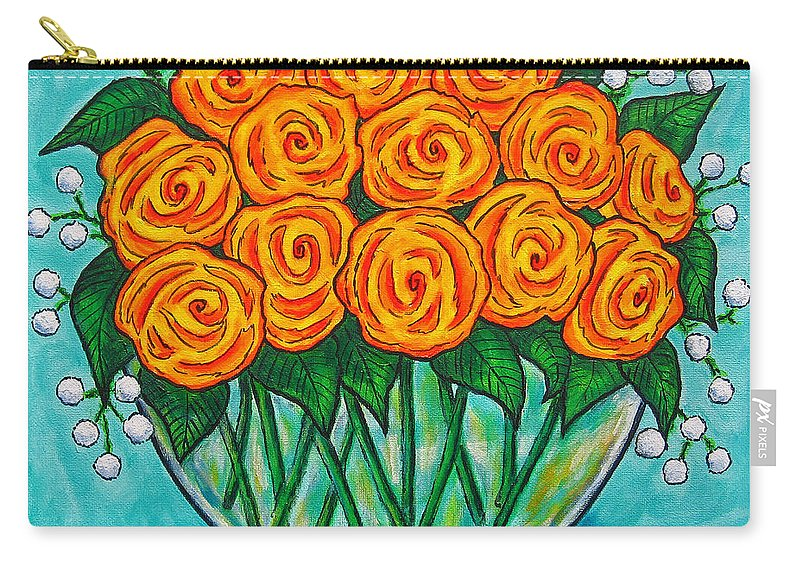 Orange Carry-all Pouch featuring the painting Orange Passion by Lisa Lorenz