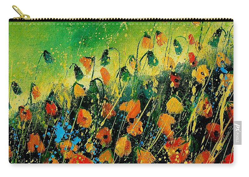 Poppies Carry-all Pouch featuring the painting Orange Poppies 459080 by Pol Ledent