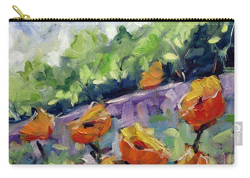 Art Carry-all Pouch featuring the painting Orange Poppies by Richard T Pranke