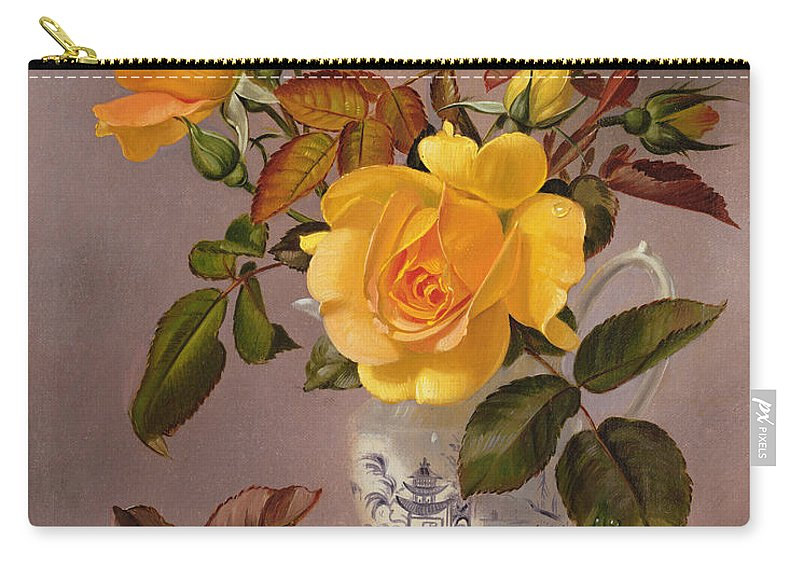 Rose Carry-all Pouch featuring the painting Orange Roses In A Blue And White Jug by Albert Williams