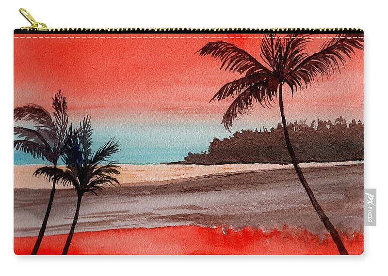 Watercolor Carry-all Pouch featuring the painting Orange Sky Of Kauai by Brenda Owen