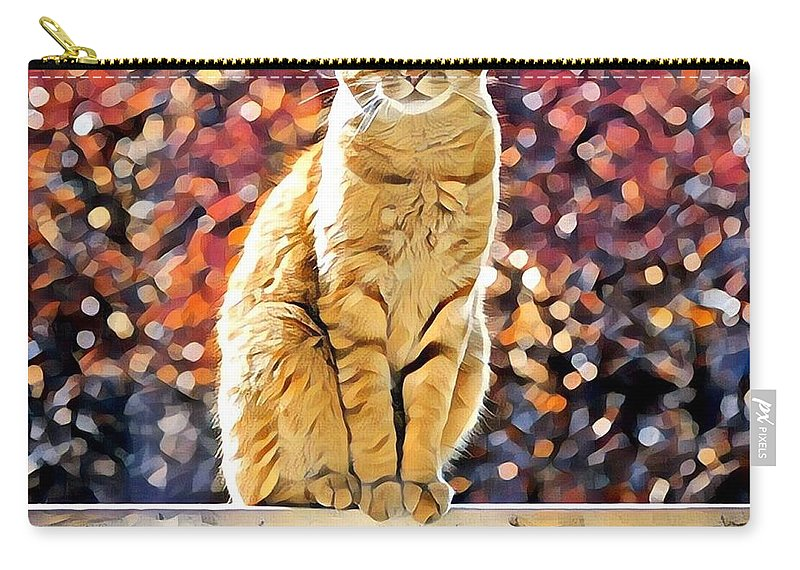 Animal Carry-all Pouch featuring the photograph Orange Tabby On Porch Rail by Tarisa Smith