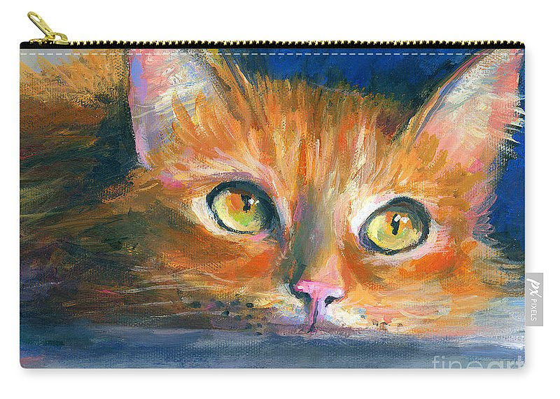 Orange Tubby Painting Carry-all Pouch featuring the drawing Orange Tubby Cat Painting by Svetlana Novikova