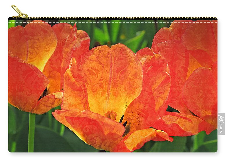 Tulip Carry-all Pouch featuring the photograph Orange Tulips With Brocade by Donna Haggerty
