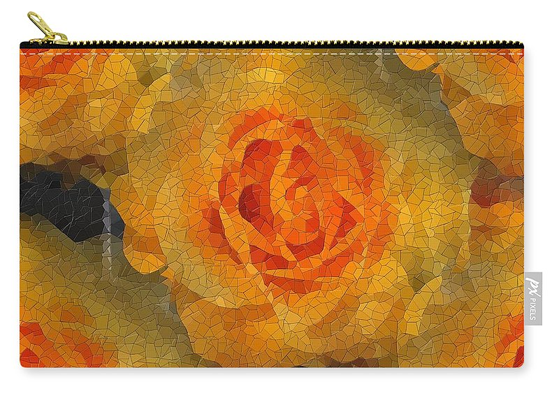 Flower Carry-all Pouch featuring the digital art Orange You Lovely by Tim Allen