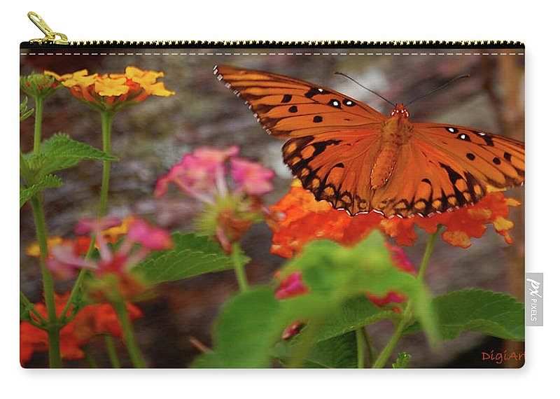 Butterfly Carry-all Pouch featuring the digital art Orange You Pretty by DigiArt Diaries by Vicky B Fuller