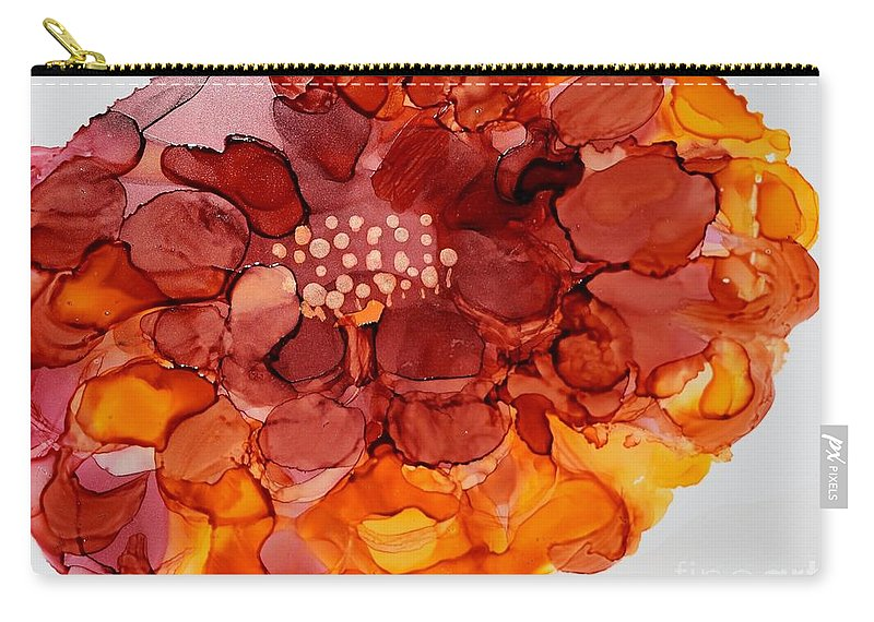 Floral Carry-all Pouch featuring the painting Orange Zinnia by Beth Kluth