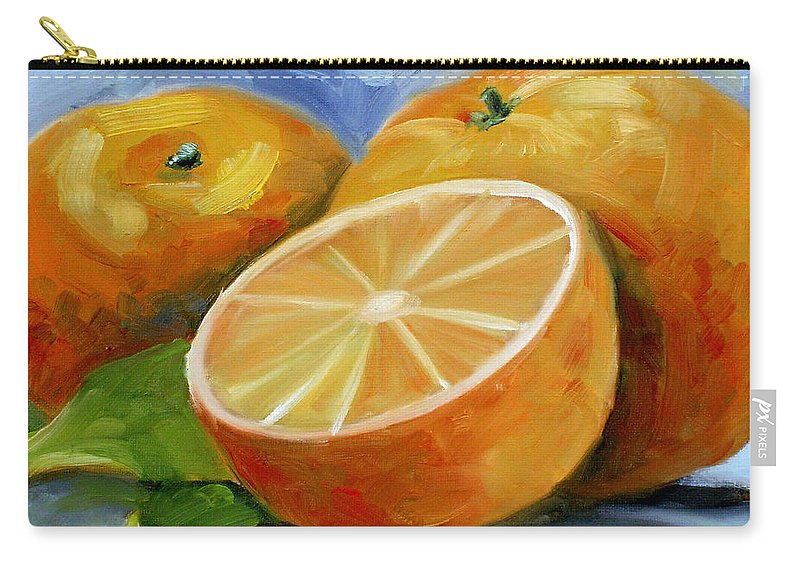 Fruit Carry-all Pouch featuring the painting Oranges by Lewis Bowman