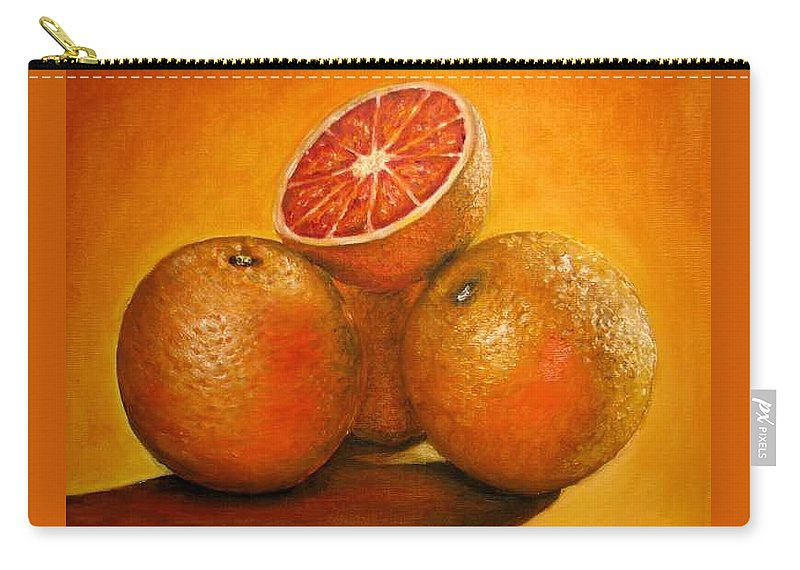 Oranges Carry-all Pouch featuring the painting Oranges Original Oil Painting by Natalja Picugina