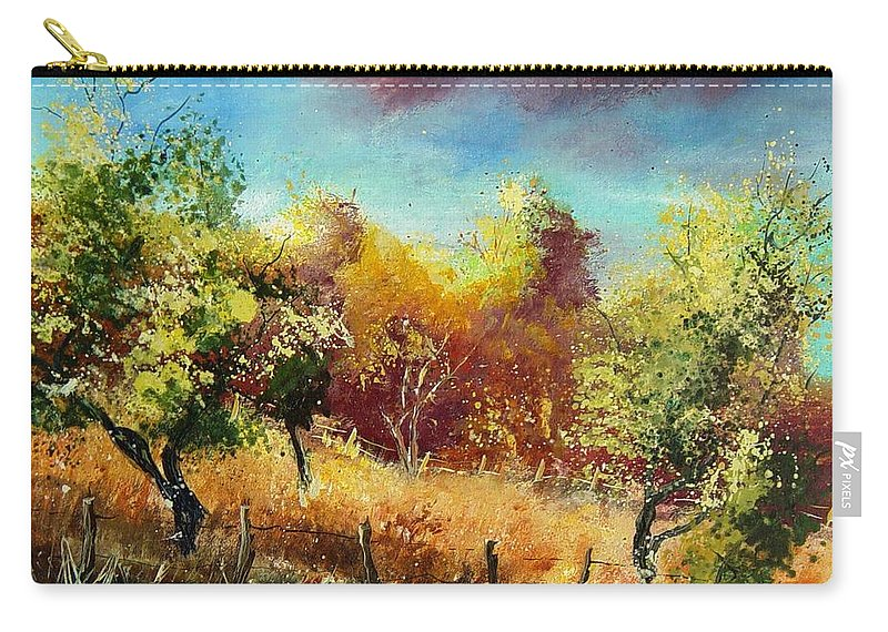 Flowers Carry-all Pouch featuring the painting Orchard by Pol Ledent