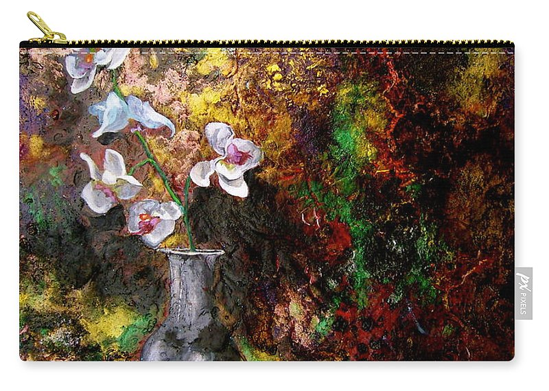 Orchid Art Beautiful Art Carry-all Pouch featuring the painting Orchid 1 by Laura Pierre-Louis