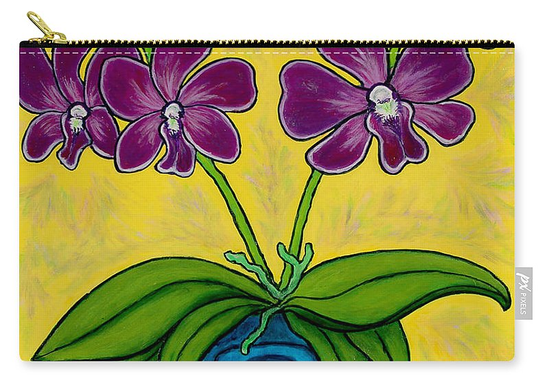 Orchids Carry-all Pouch featuring the painting Orchid Delight by Lisa Lorenz