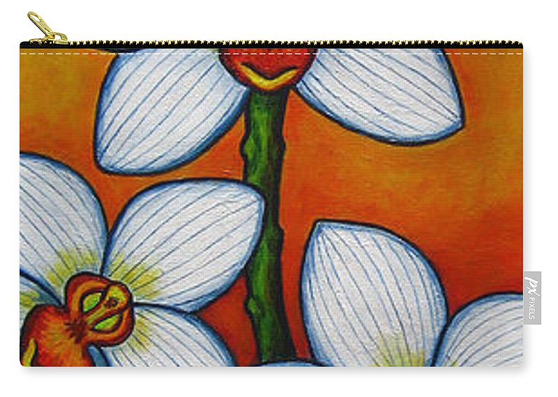 Orchids Carry-all Pouch featuring the painting Orchid Oasis by Lisa Lorenz