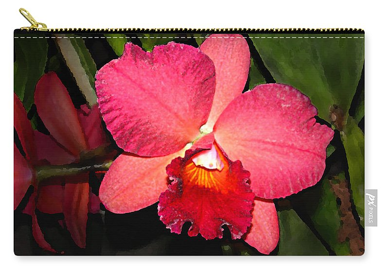 Digital Painting And Photography Carry-all Pouch featuring the photograph Orchid by Steve Karol