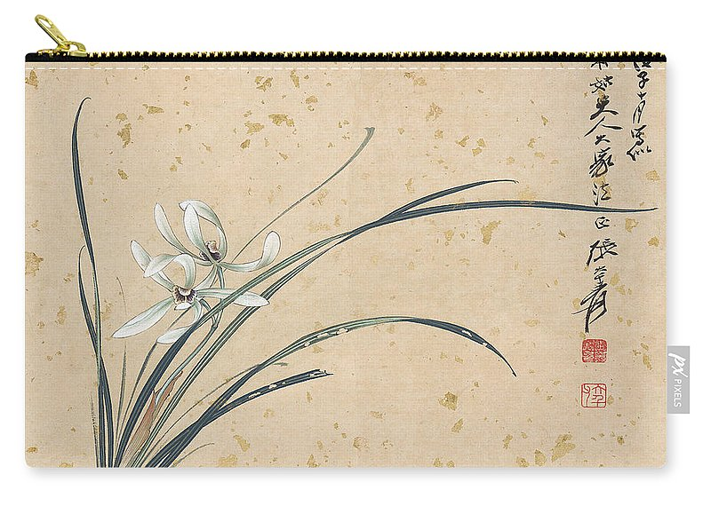 Lotus Plum Peony Flower Carry-all Pouch featuring the painting Orchid by Zhang Daqian