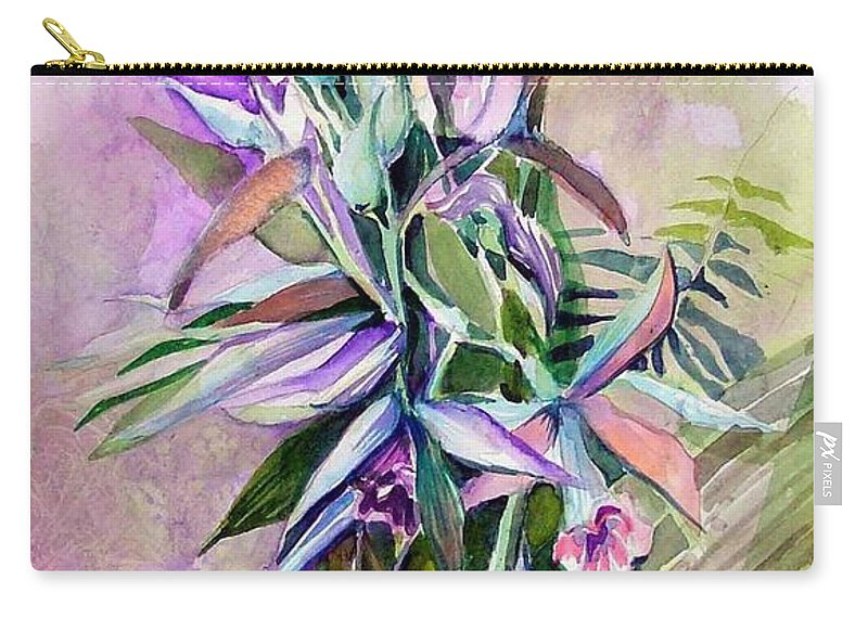 Orchids Carry-all Pouch featuring the painting Orchids- Botanicals by Mindy Newman