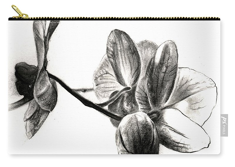 Lin Petershagen Carry-all Pouch featuring the drawing Orchids In Black by Lin Petershagen