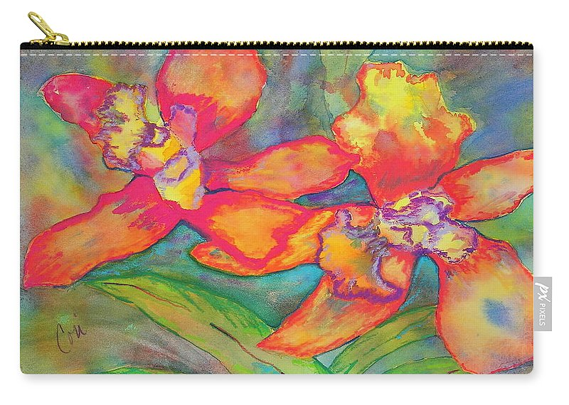 Flowers Carry-all Pouch featuring the painting Orchids In Paradise by Cori Solomon