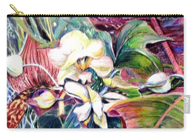 Valentines Carry-all Pouch featuring the drawing Orchids In White by Mindy Newman