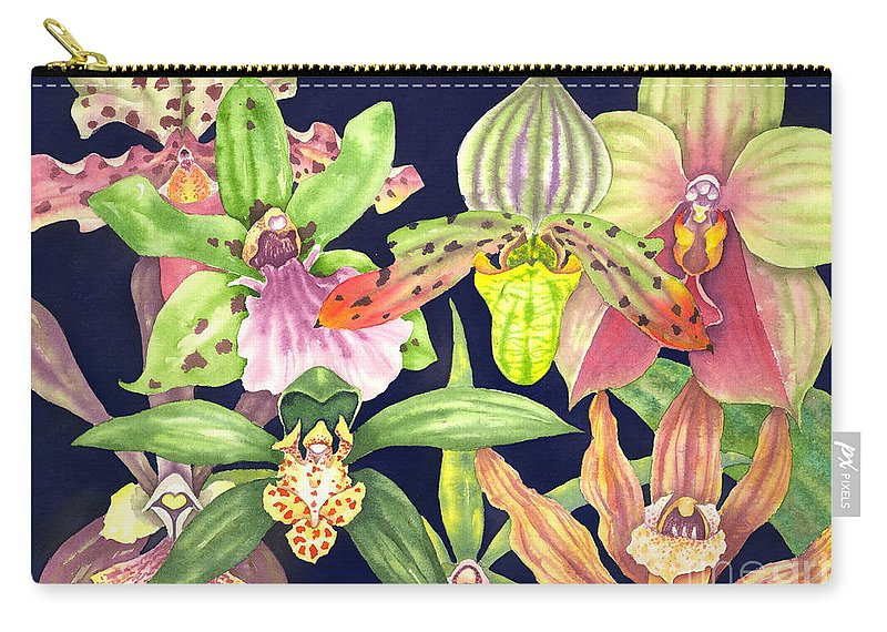 Orchids Carry-all Pouch featuring the painting Orchids by Lucy Arnold
