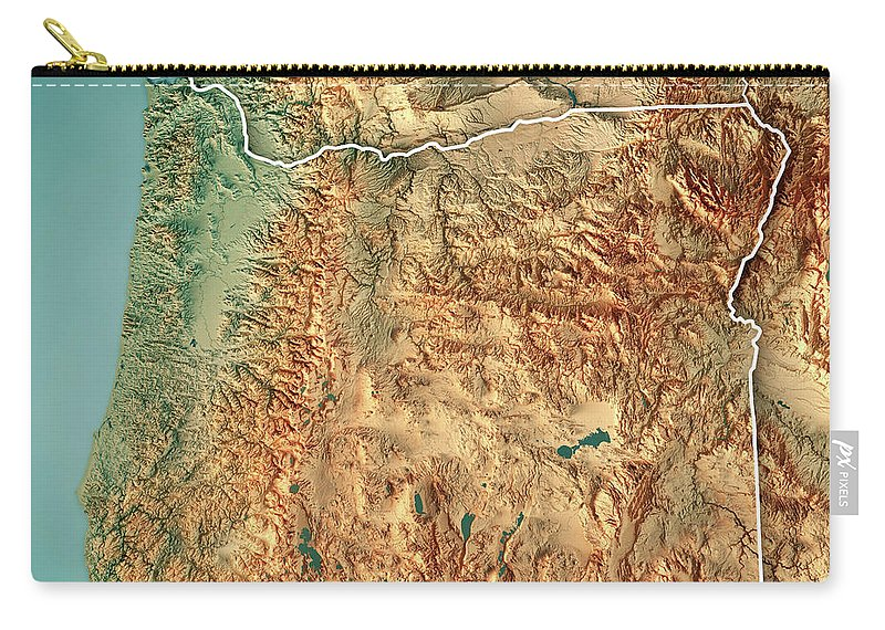 Oregon State Usa 3d Render Topographic Map Border Carryall Pouch