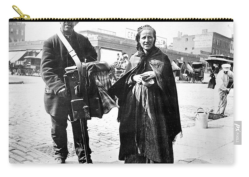 1897 Carry-all Pouch featuring the photograph Organ Grinder, 1897 by Granger
