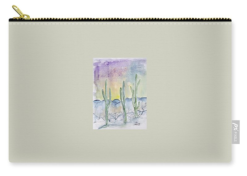 Impressionistic Carry-all Pouch featuring the painting Organ Pipe Cactus desert southwestern painting poster print by Derek Mccrea
