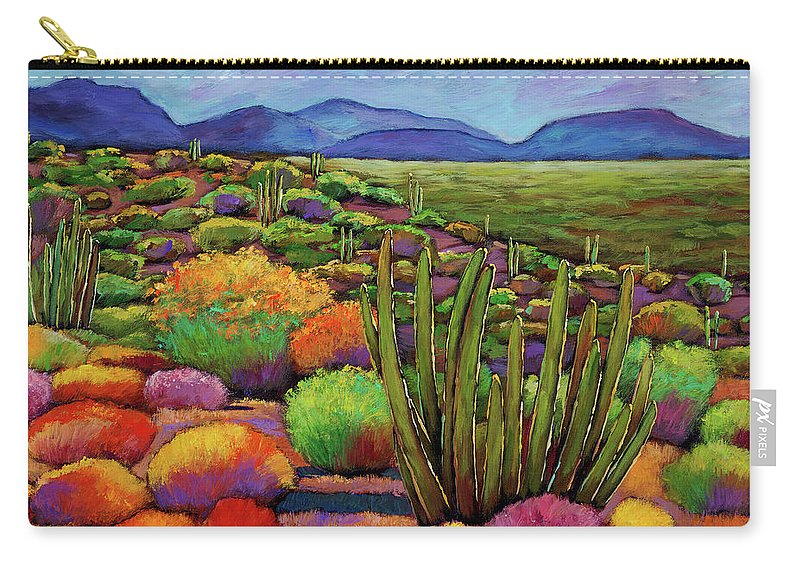 Desert Landscape Carry-all Pouch featuring the painting Organ Pipe by Johnathan Harris