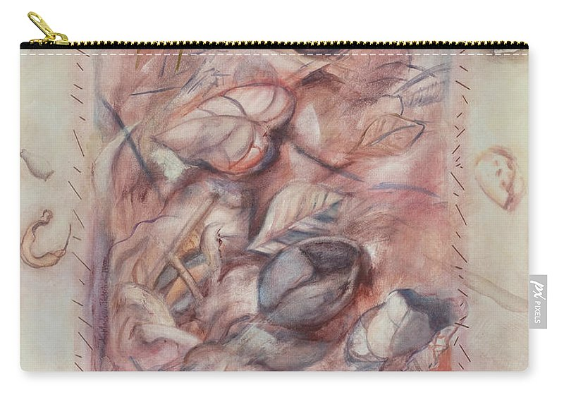 Shells Carry-all Pouch featuring the painting Organic Co-existence by Kerryn Madsen-Pietsch